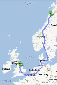 Route to the Arctic Circle from the UK